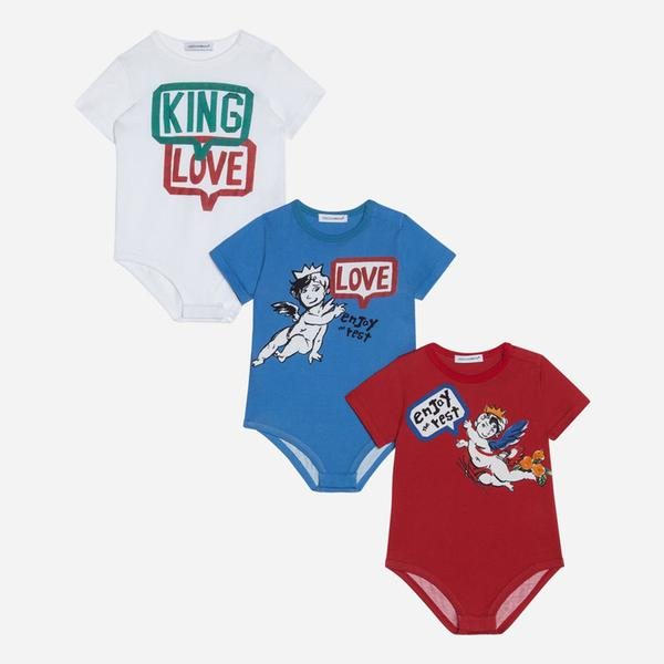 Baby White & Blue & Red 3 Pack Babysuit