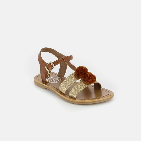 Girls Camel & Gold Leather Sandals