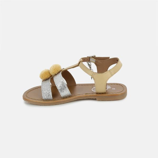 Girls Beige & Silver Leather Sandals