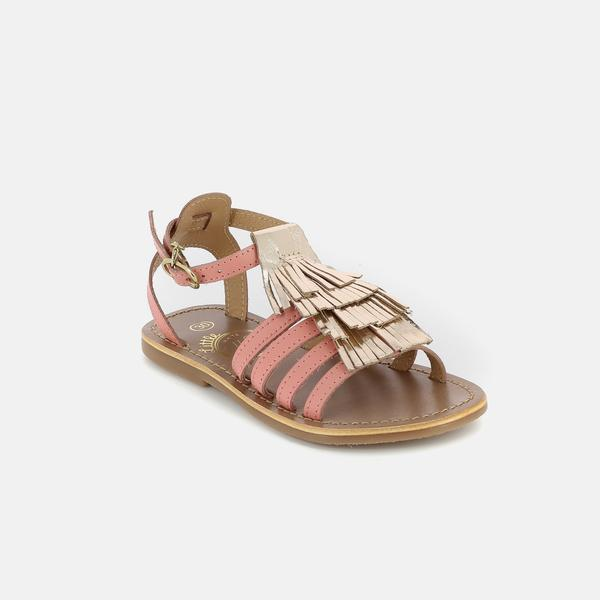Girls Pink & Gold Leather Sandals