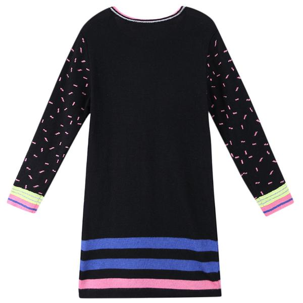 Girls Multicolor Striped Knitted Jersey Dress - CÉMAROSE | Children's Fashion Store - 2