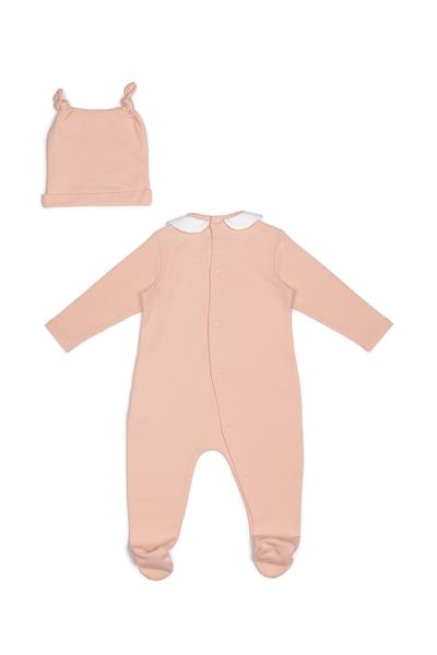 Baby Boys & Girls Pink Logo Cotton Babysuit