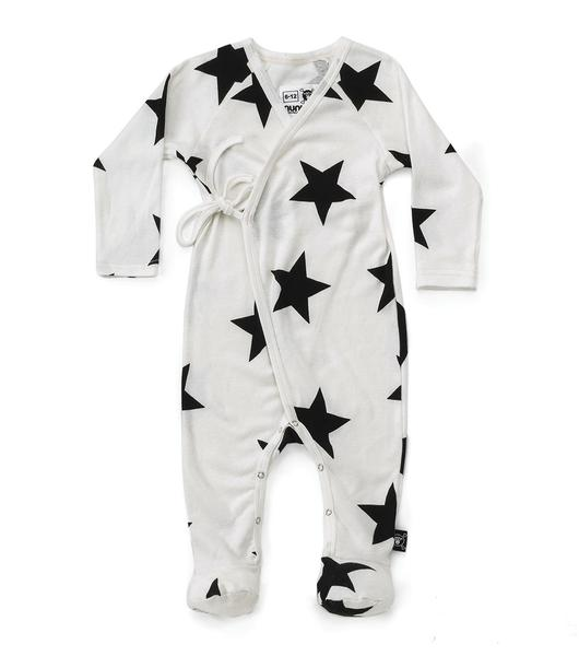Baby Boys & Girls White Star Cotton Babysuit