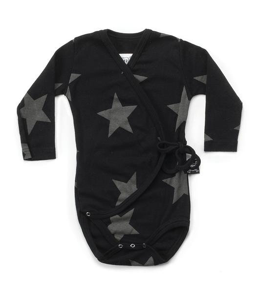 Baby Boys & Girls Black Star Cotton Babysuit