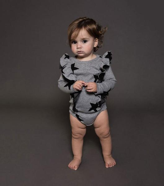 Baby Girls Grey Star Ruffled Cotton Babysuit