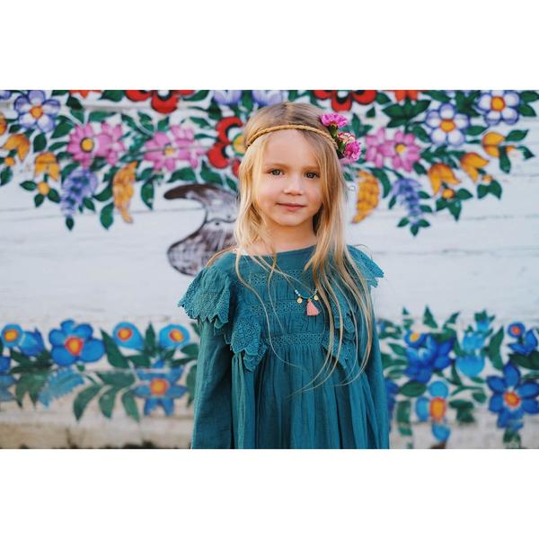 Girls Green Blue Cotton Dress