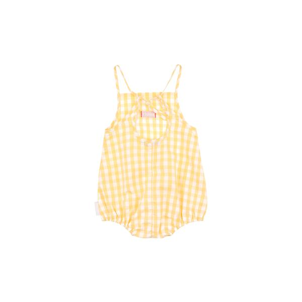 Baby Yellow Check Cotton Babysuit