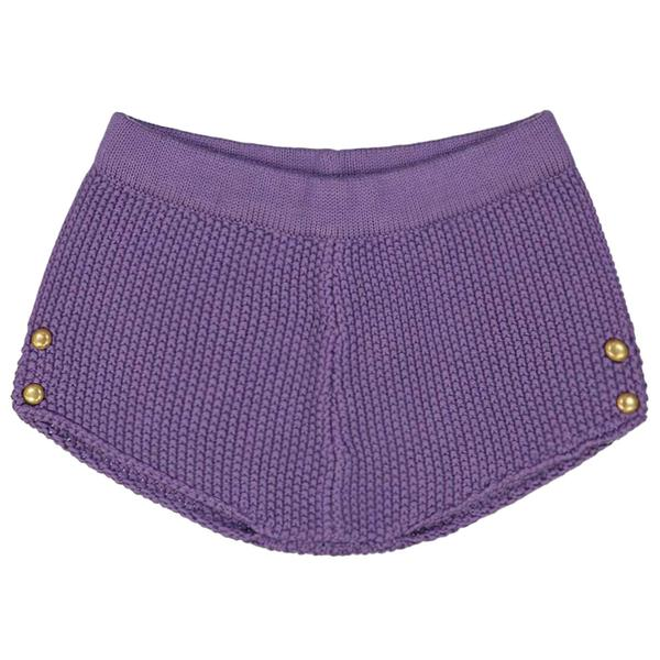 Baby Girls Purple Cotton Knitted Shorts