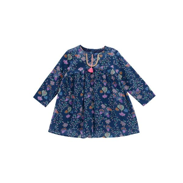 Girls Blue Pine Cone Cotton Dress