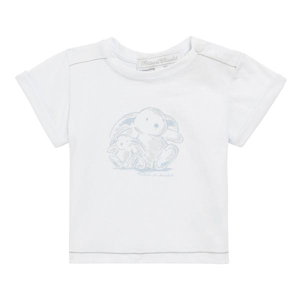 Baby White Cotton Bunny Printed T-Shirt - CÉMAROSE | Children's Fashion Store