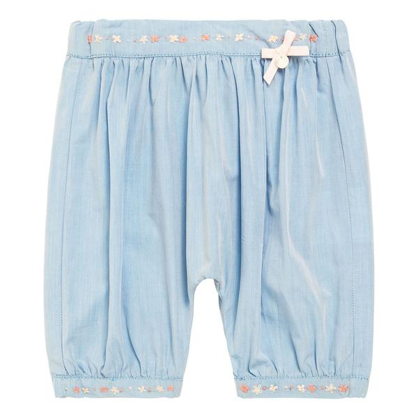 Baby Girls Light Blue Cotton Embroidered Trims Trousers - CÉMAROSE | Children's Fashion Store