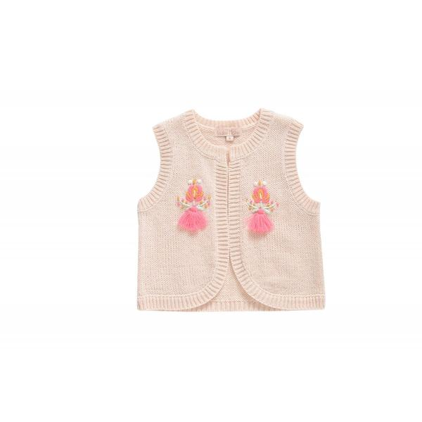 Girls Cream Acrylic Gilet