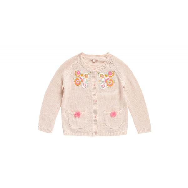 Girls Cream Acrylic Cardigan