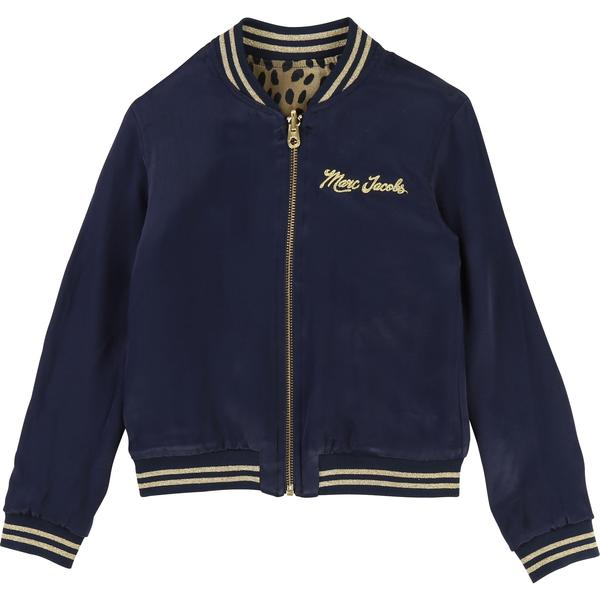 Girls Beige & Navy Cotton Reversibie Jacket