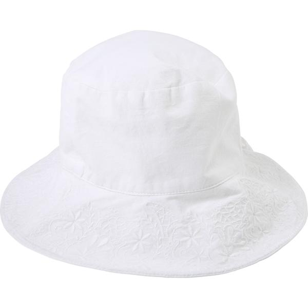 Girls White Embroidered Cotton Hat