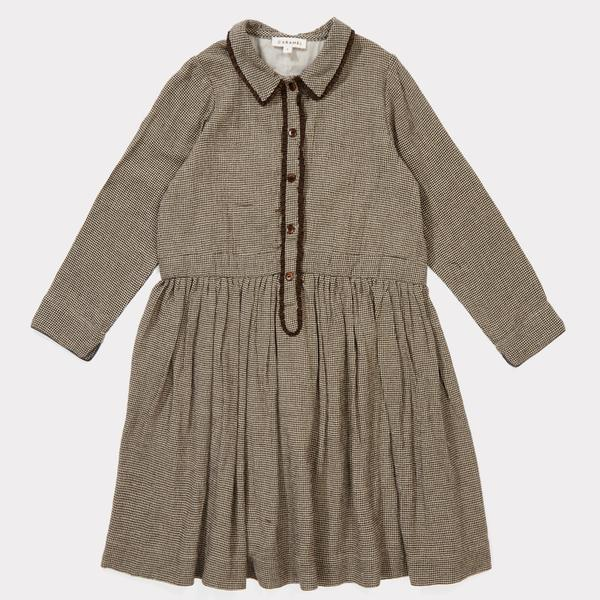 Girls Dark Brown Micro Woven Dress