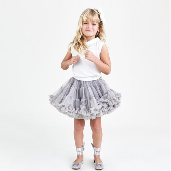 Girls Ash Grey Nylon Knitted Skirt