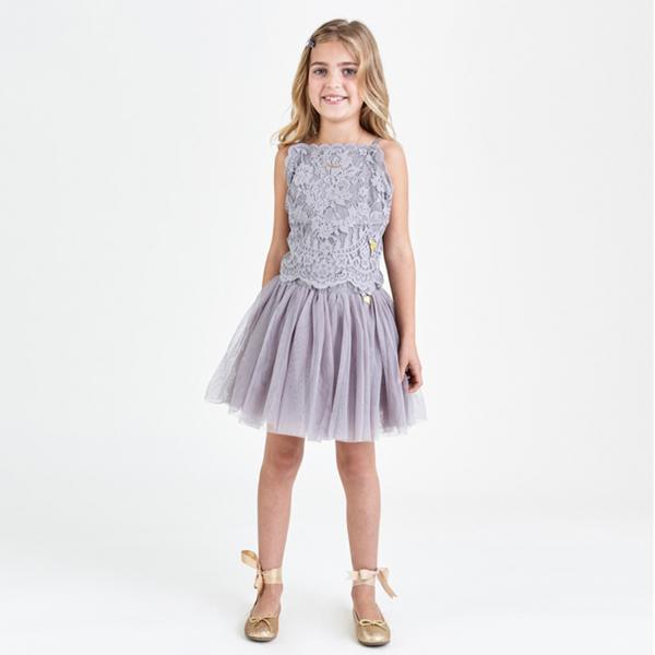 Girls Ash Grey Princess Skirt