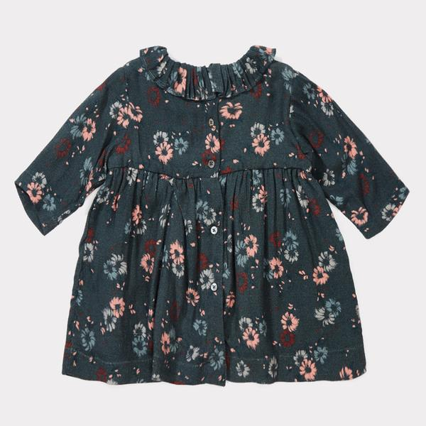 Baby Girls Dark Teal Painted Flower Dress