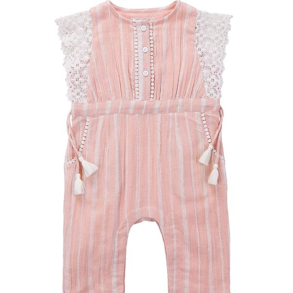 Girls Blush Stripes Cotton Overalls