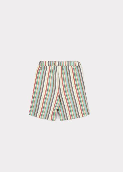 Girls Multi Stripe Cotton Woven Shorts
