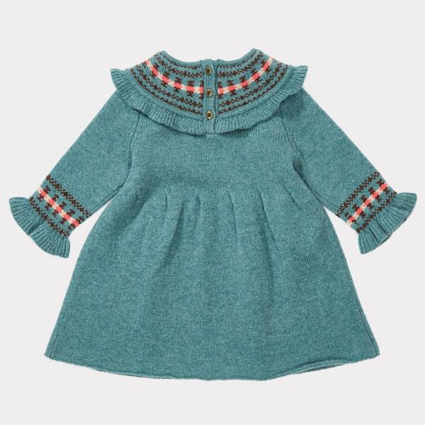 Baby Girls Duck Egg Blue Fairisle Dress