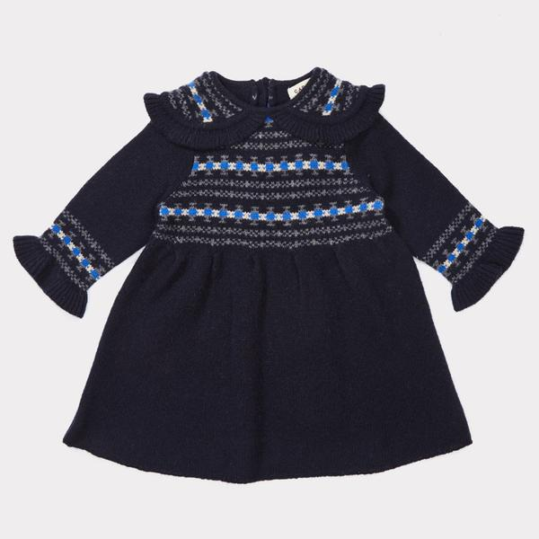 Baby Girls Navy Fairisle Dress