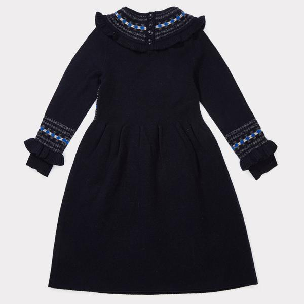 Girls Navy Rairisle Kint Dress