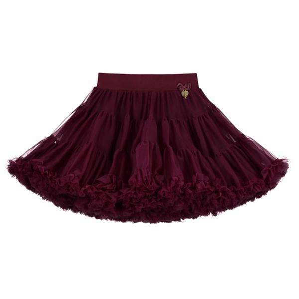 Girls Burgundy Nylon Knitted Skirt