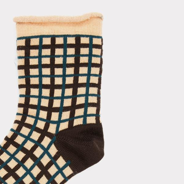 Girls Pink & Green Check Silk Socks