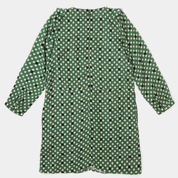Girls Forest Green Polka Dot Dress
