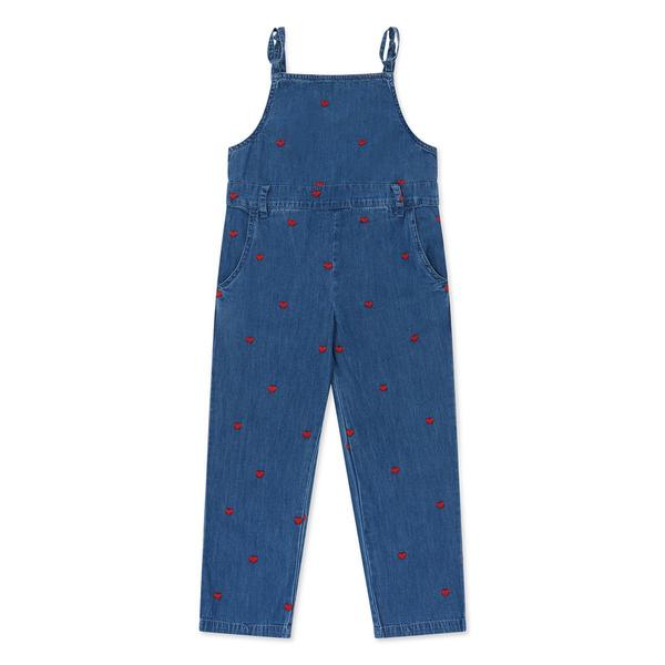 Girls Denim Blue Embroidered Overall