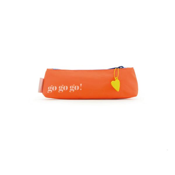 Girls Orange Go Go Go Pencil Pouch(23 x 9 cm)