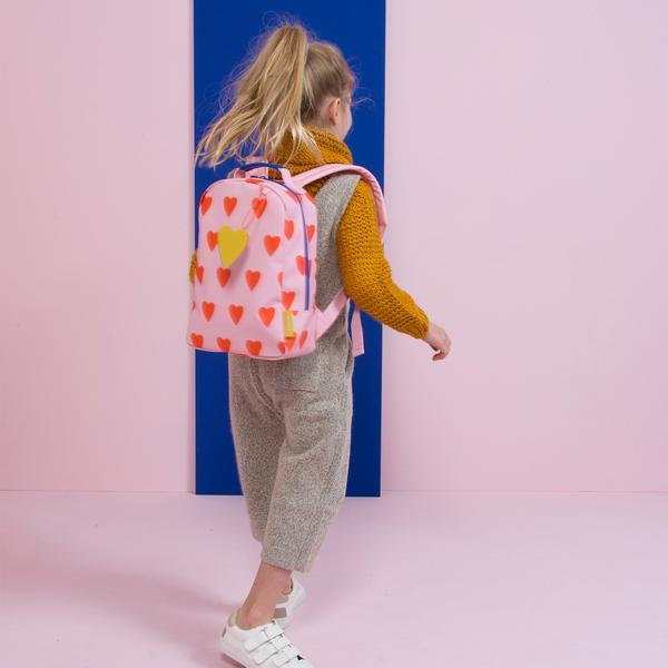 Girls Soft Pink & Orange Mini Hearts Backpack(20 x 10 x 30 cm)