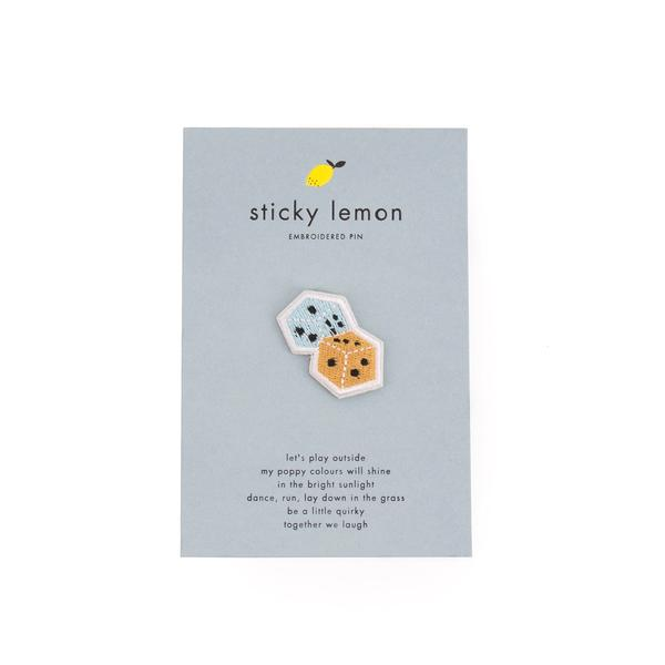 Sticky lemon Embroidered pins Dice
