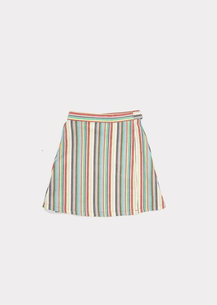 Girls Multi Stripe Cotton Woven Skirt