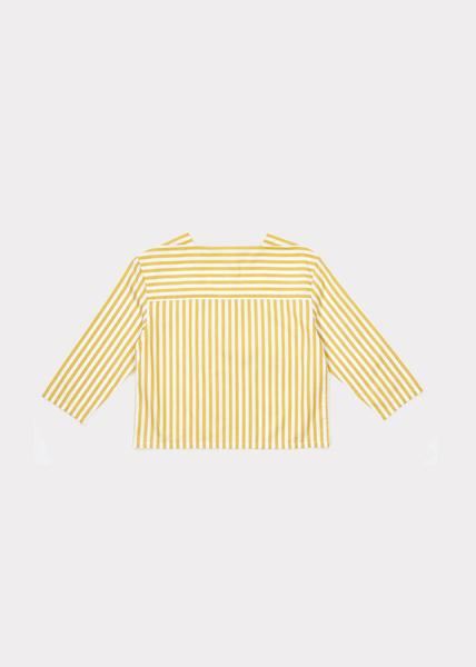 Girls Yellow Stripe Cotton Woven Blouse