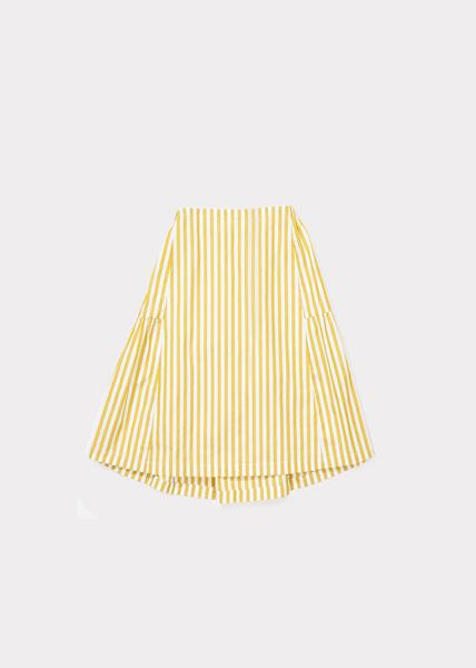 Girls Yellow Stripe Cotton Woven Skirt