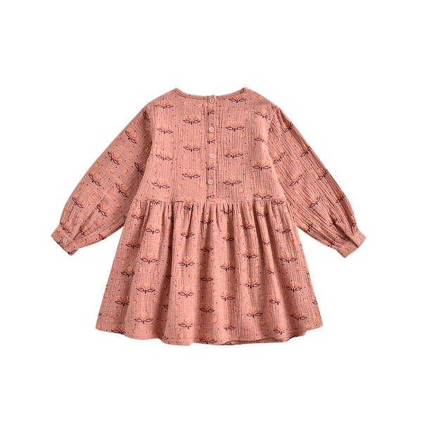 Girls Pink Printed Cotton Dress
