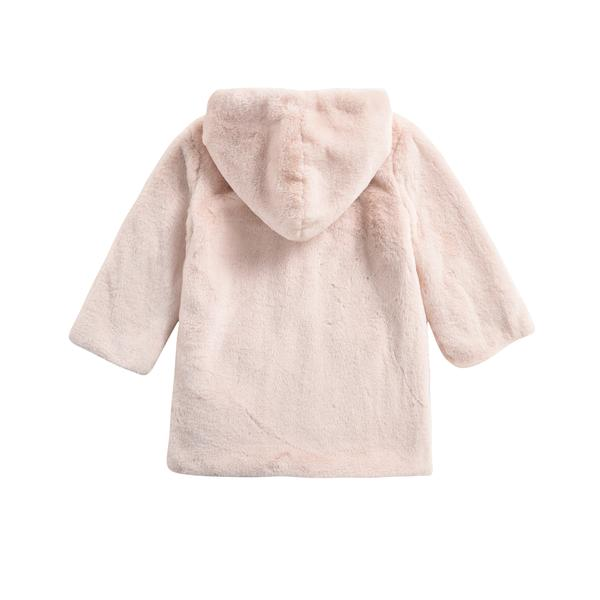 Girls Cream Embroidered Hooded Coat