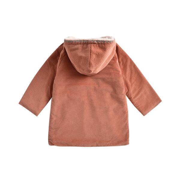 Girls Terracotta Embroidered Cotton Coat