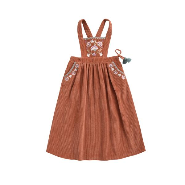 Girls Terracotta Embroidered Cotton Dress