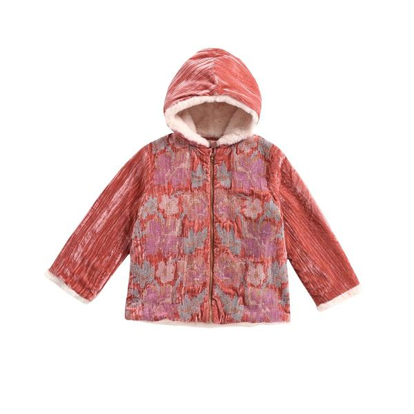 Girls Brick Red Embroidered Coat