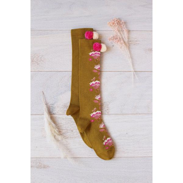 Baby Girls Dark Yellow Embroidered Cotton Socks