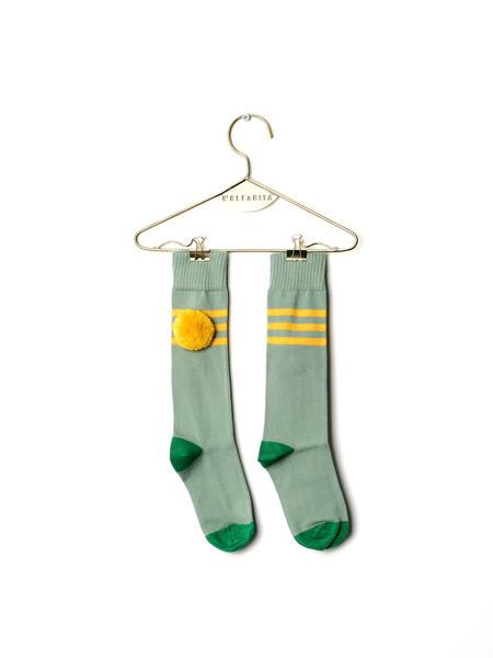 Girls & Boys Light Green Cotton Long Socks