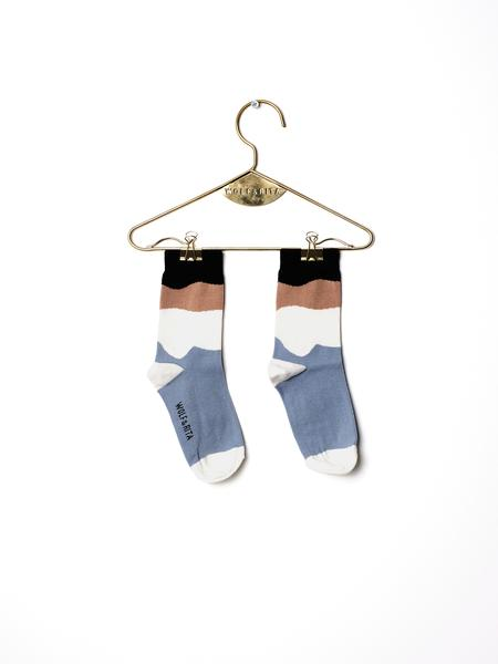 Girls & Boys Blue & White Cotton Mini Socks