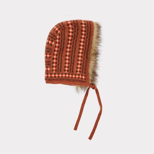 Girls Rust Fairisle Hat