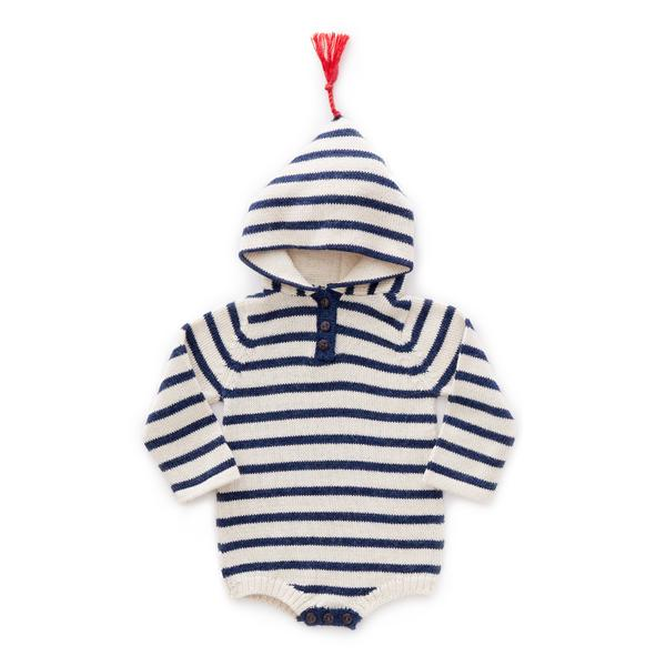 Baby Indigo Stripes Baby Alpaca Hooded Onesie