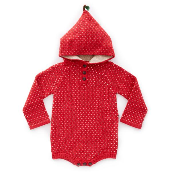 Baby Girls Red & Beige Baby Alpaca Hooded Onesie