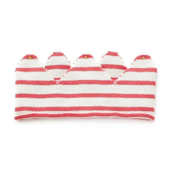 Baby Girls White & Red Stripes Cotton Crown